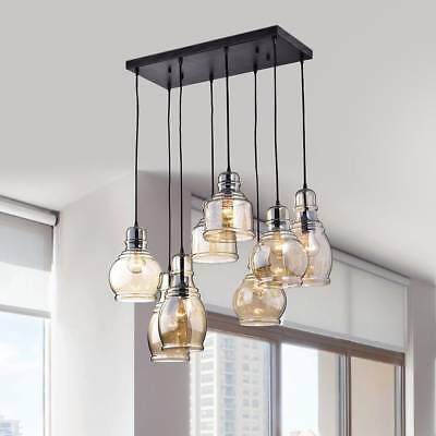 Antique Cognac Glass Finish Ceiling Hanging Pendant Grouping Lights