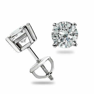 .45 Ct Round Cut Stud Earrings Basket set 14k White Gold Pierced Screw Back Gift