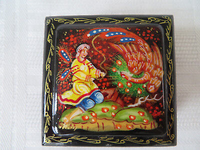RUSSIAN BLACK LACQUER RED LINED TRINKET BOX Hand Painted