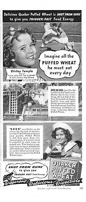 1938 vintage cereal Ad QUAKER PUFFED WHEAT w/ Shirley Temple 112018