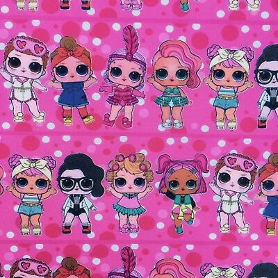 Fq Pink Lol Surprise Doll Dawn Showbaby Polycotton  Fabric Girls Character