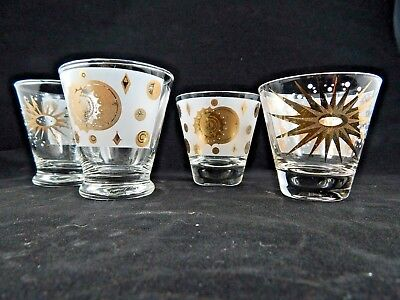 Atomic Sun Moon Starburst Mid Century Fred Press Gold Double Shot Glasses