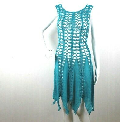 1605cf44ad India Boutique Women's Dress Beach Cover up Crochet One Size Green Teal Aqua