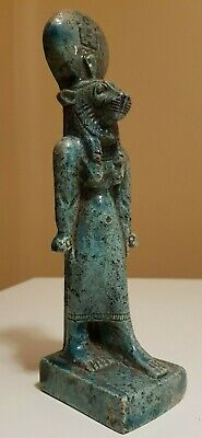 ANCIENT EGYPTIAN ANTIQUES Rare Statue Of Goddess SEKHMET Blue Glazed Stone BC