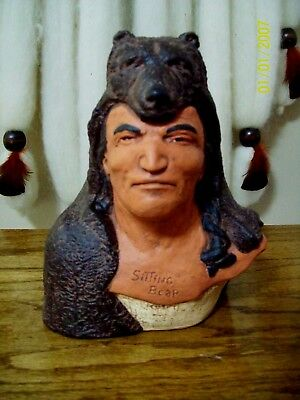 SITTING BEAR BUST - hydracal  statue -handpainted by me $ 2.00 off