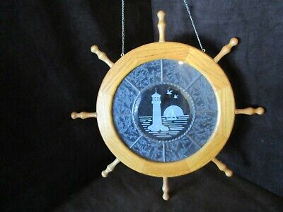 "Wall Oak Wood Nautical Wheel etched stained glass Lighthouse Sail boat 19"" Wide"