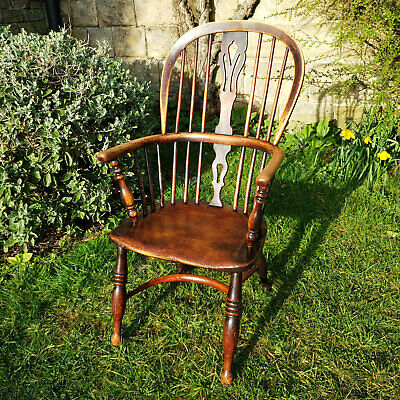 C19th Elm & Ash Windsor Lincolnshire Country Armchair Carver (Antique)