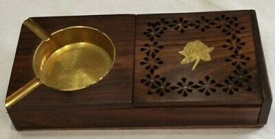 teak wood and brass ashtray with storage