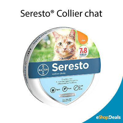 Collier Antiparasitaire Pour Chats Seresto Bayer Anti Puces Anti Tiques Gris