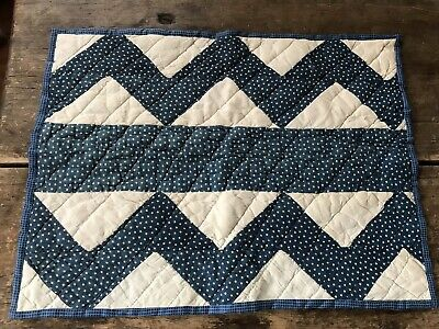 Early Antique Hand Sewn Blue Star Calico Homespun Doll Childs Quilt Textile AAFA