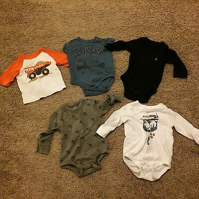Lot of 5 Baby Gap Knit T-Shirt Tops & Rompers Bodysuits Size 6-12 Months