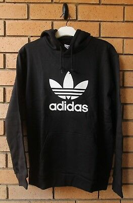 Bnwt Adidas Originals Men's Black Trefoil Hoodie Size Large Dt7964
