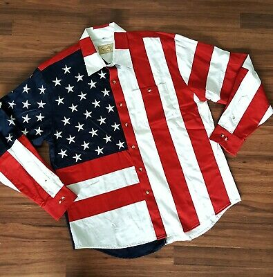 8e67ad00 NEW Scully Western USA Flag Button Long Sleeve Shirt Men Sz XL Embroidered  Stars