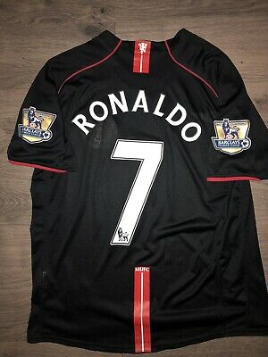 factory price a64bb 075a3 2007/2008 NIKE MANCHESTER United Cristiano Ronaldo Jersey Shirt Away Black  XL