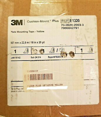185B NEW 3M Cushion-Mount Plus Plate Mounting Tape E1215H Orange 18 in x 25 yd
