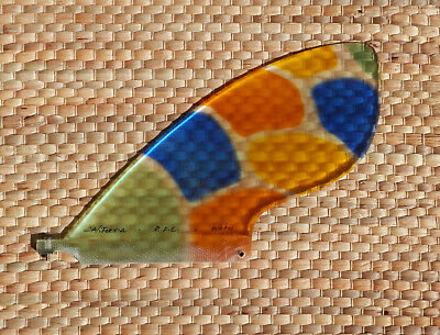 "RAINBOW WAHOO STAINED GLASS SUP FIN, 6.75"" Unique Stained Glass, SUP Fin, *NEW*"