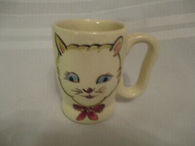 Vintage PURINTON CHILDREN'S CAT or KITTEN MUG   4 inches tall   RARE   MUST SEE