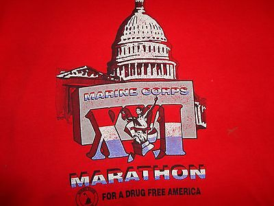 Red True Vintage USMC Marine Corps Marathon For A Drug Free America T-Shirt L