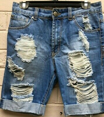 New Viral Jeans Womens Denim Ripped Wash Shorts Size Small 30