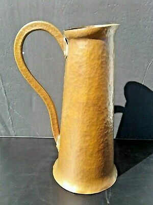 "Large 12"" tall Antique Vintage Arts & Craft Hammered Copper Pitcher W Rivets"