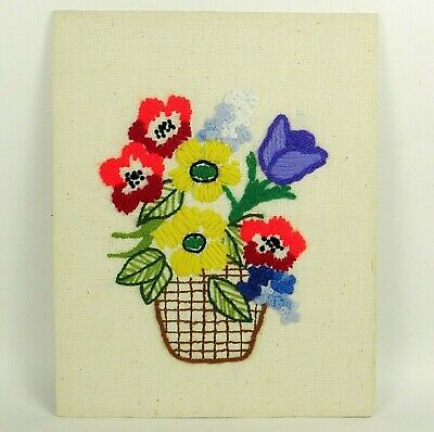 Vintage Floral Crewel Completed Retro 1970s Embroidery Needle Art Fiber Art