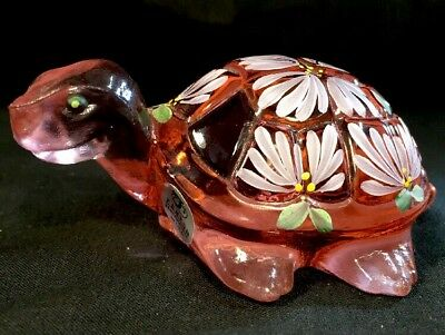 Fenton Art Glass Hand Painted Rose Pink Turtle Made For Backyard Buddies