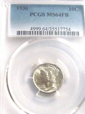 1936 Mercury Dime, Pcgs Ms64 Fb, Very Nice