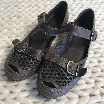 c24d3baf83f Frye Brown Leather Braided Double Buckle Mary Jane Flats Womens Size 6.5