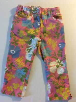 Girls Mini Boden Bright Pink Floral Yellow Blue White Cropped Twill Pants Size 6