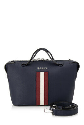 ffe4d893c807 PRE-OWNED BALLY SUPRA Small Bowling Bag (Blue; Bovine Split Leather ...