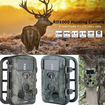 Waterproof 12MP 1080P HD Low Glow LED Game Trail Camera Night Vision RD1000 MA