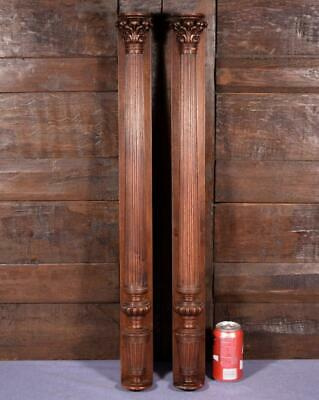 "31"" Pair of French Antique Walnut Wood Posts/Pillars/Columns with Backings"