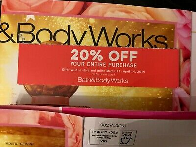 Bath And Body Works Coupon 20% off entire purchase  expires 4/14/2019