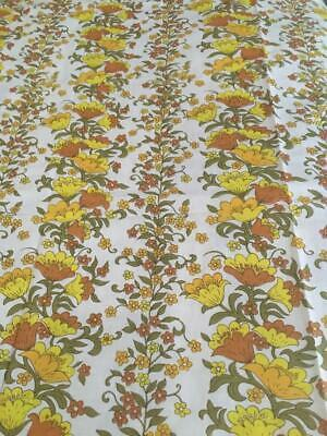 Vintage/ Retro Yellow /orange/green Floral Fabric Material New - Queen Sheet -