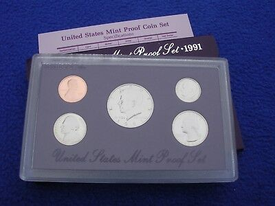1991 US Mint Proof 5 Coin Set Uncirculated With COA & Box