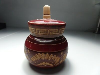 Hand carved Wooden Jar With the Lid