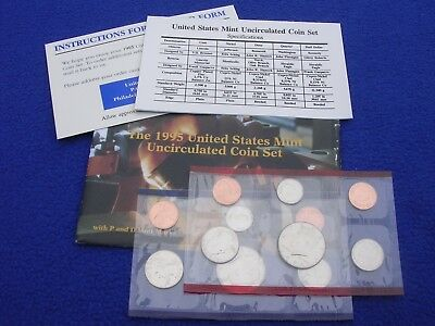 1995 P & D US Mint Uncirculated 10 Coin Set  With COA