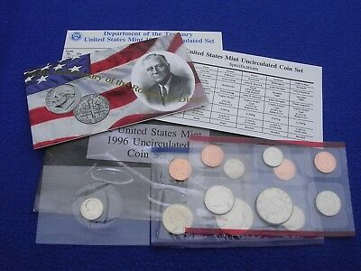 1996 P & D US Mint Uncirculated 11 Coin Set  With W Roosevelt Dime & COA