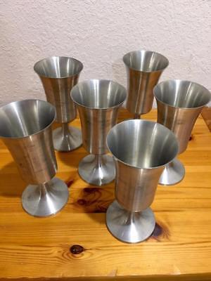 Rare Norwegian Pewter Beer Party Goblets From Norway 6 Pcs Food Safe