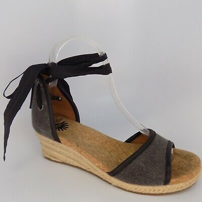 2b004b4d46e UGG AMELL WOMEN Black Wedge Sandals. Size 9.5 New In Box - $62.50 ...