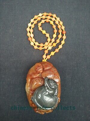 100% Natural Hand-carved Chinese Jade Pendant Necklace Lotus Dragon Turtle Bat