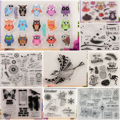 Transparent Silicone Clear Stamp Rubber Stamps DIY Scrapbook Owl Christmas Bird