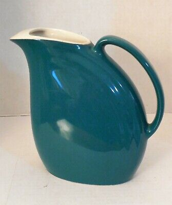 Hall USA Riveria Water/Ice Lip Pitcher, Vintage Art Deco, Teal Green