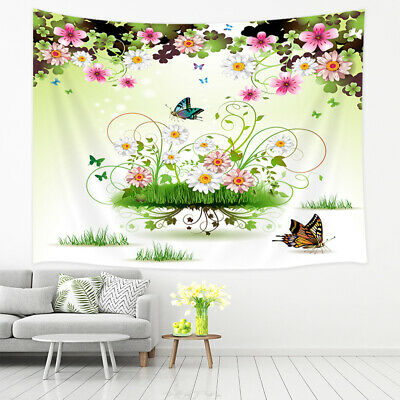 Fairy Tapestry Elf Girl with Wreath Tree Print Wall Hanging Decor
