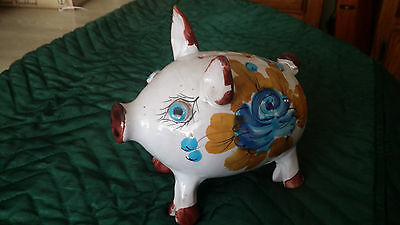 Pig Shaped Piggy Bank Hand-Painted Made In Italy No Stopper Porcelain Pottery