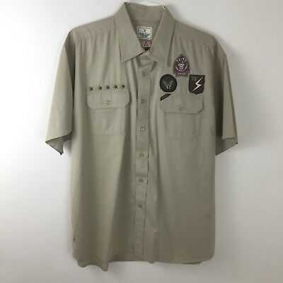 Marc Ecko Times Square New York Mens Khaki Patch Style Button Up Shirt XL