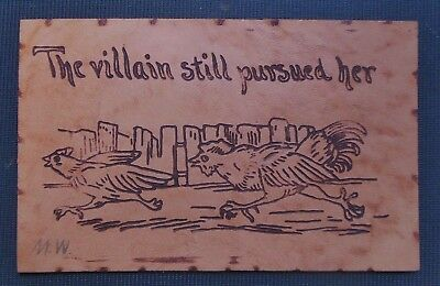 Villain Still Pursued Her-Rooster Chases Chicken -Antique VTG LEATHER Postcard