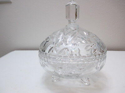 """Vintage Crystal Cut & Pressed Glass Covered Candy Dish Pinwheel Pattern 7 1/2"""" T"""