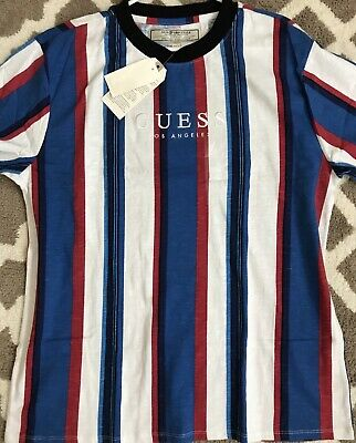 fbd5e1fdad GUESS Originals Sayer Striped T Shirt Oversized Retro Embroidered Blue  Large NEW