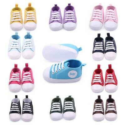 Baby Boys Girls Toddler Kids Shoes Lace Up Canvas Sneakers Soft Crib Shoes 0-12M